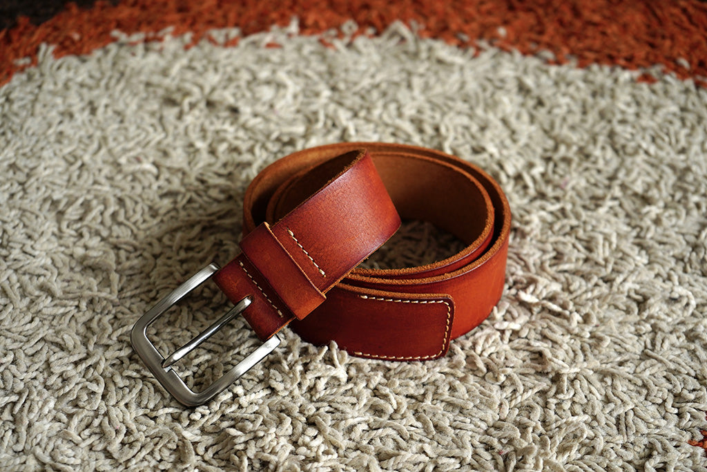 Men's Casual Pure Leather Show Stitched Belt Tan Colour
