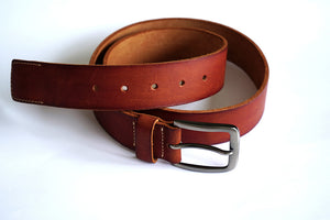 Men's Casual Show Stitched Leather Belt with Fancy Buckle