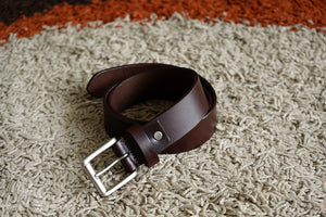 Men's Brown Plain Pure Leather Belt - 21 Degree Branded