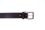 Load image into Gallery viewer, Men's Brown Plain Pure Leather Belt with Brushed Nickel Buckle (Stitched)