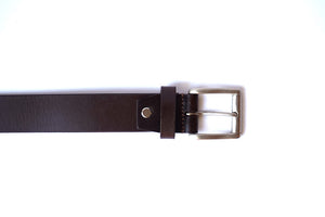 Men's Brown Plain Pure Leather Belt with Brushed Nickel Buckle (Stitched)