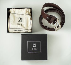 Men's Brown Plain Pure Leather Belt Packaging