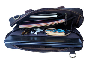 "15.6"" Leather Laptop Bag with Diary, Pens, Earphones, Notebook"