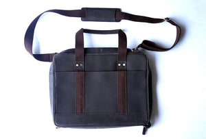 "15.6"" Pure Brown Leather Laptop Bag back view with short and long belts"