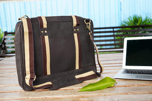 "15.6"" Brown Pure Leather Laptop Bag and Cream Strap with Multiple Pockets"