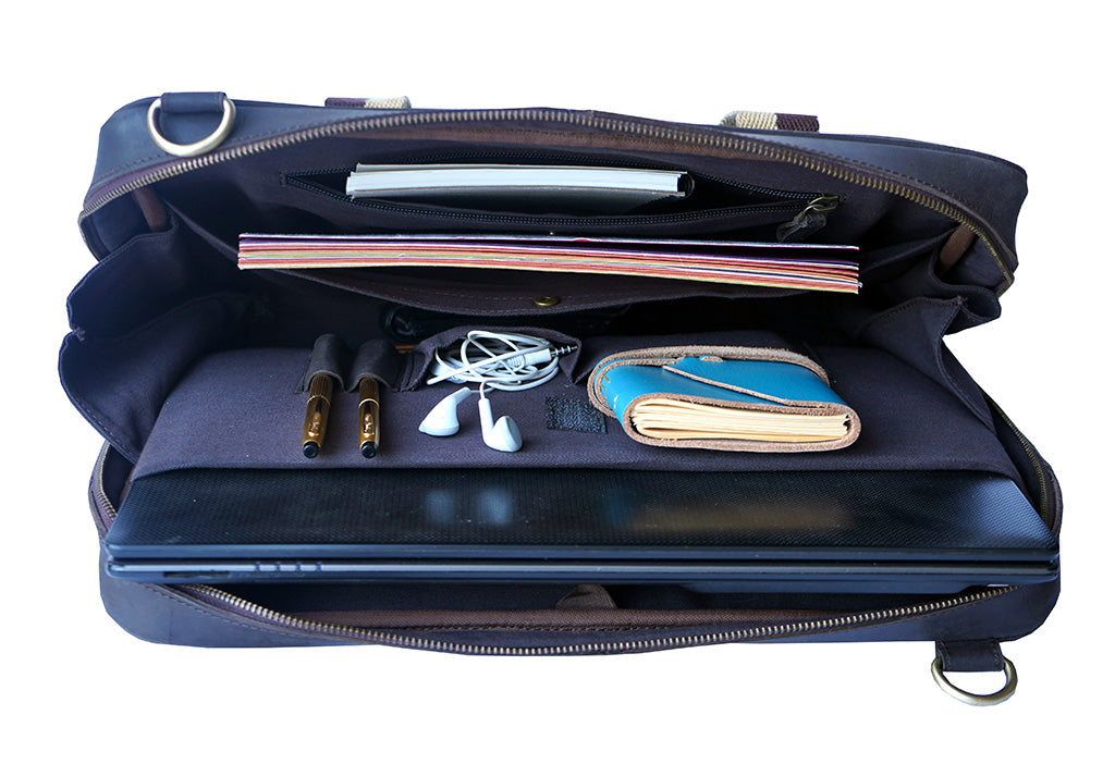"15.6"" Brown Pure Leather Laptop Bag and Cream Strap inside construction with Notepad, Diary, Earphones, Pen, Notebook"