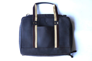 "15.6"" Brown Pure Leather Laptop Bag and Cream Strap front with short handle"
