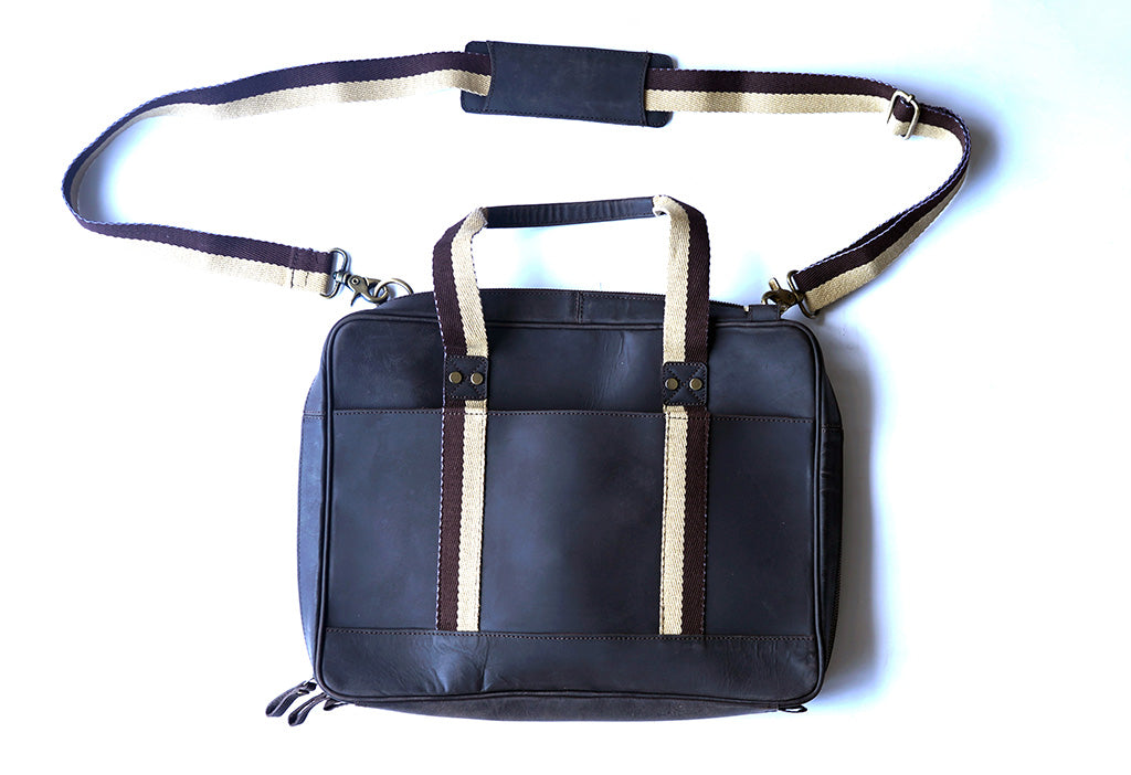 "15.6"" Brown Pure Leather Laptop Bag and Cream Strap back view with short and long handle"