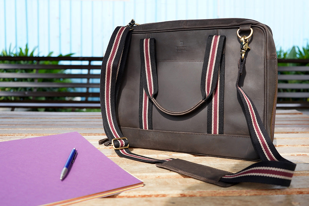 "15.6"" Brown Pure Leather Laptop Bag and Maroon Strap with Multiple Pockets"