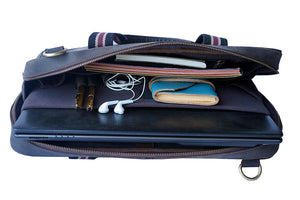 "15.6"" Brown Pure Leather Laptop Bag and Maroon Strap inside construction with Notepad, Pens, Diary, Earphones, Notebook"