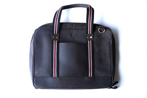 "15.6"" Brown Pure Leather Laptop Bag and Maroon Strap front view with short strap"