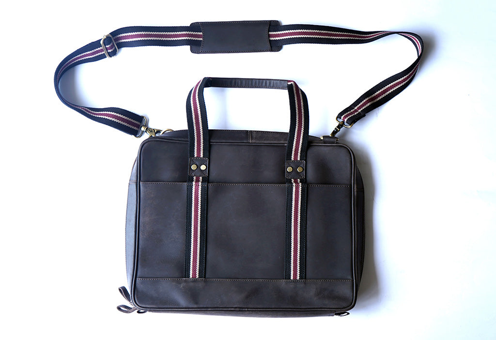 "15.6"" Brown Pure Leather Laptop Bag and Maroon Strap back view with short and long handle"