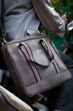 "Load image into Gallery viewer, 15.6"" Brown Pure Leather Laptop Bag and Maroon Strap Model Image"