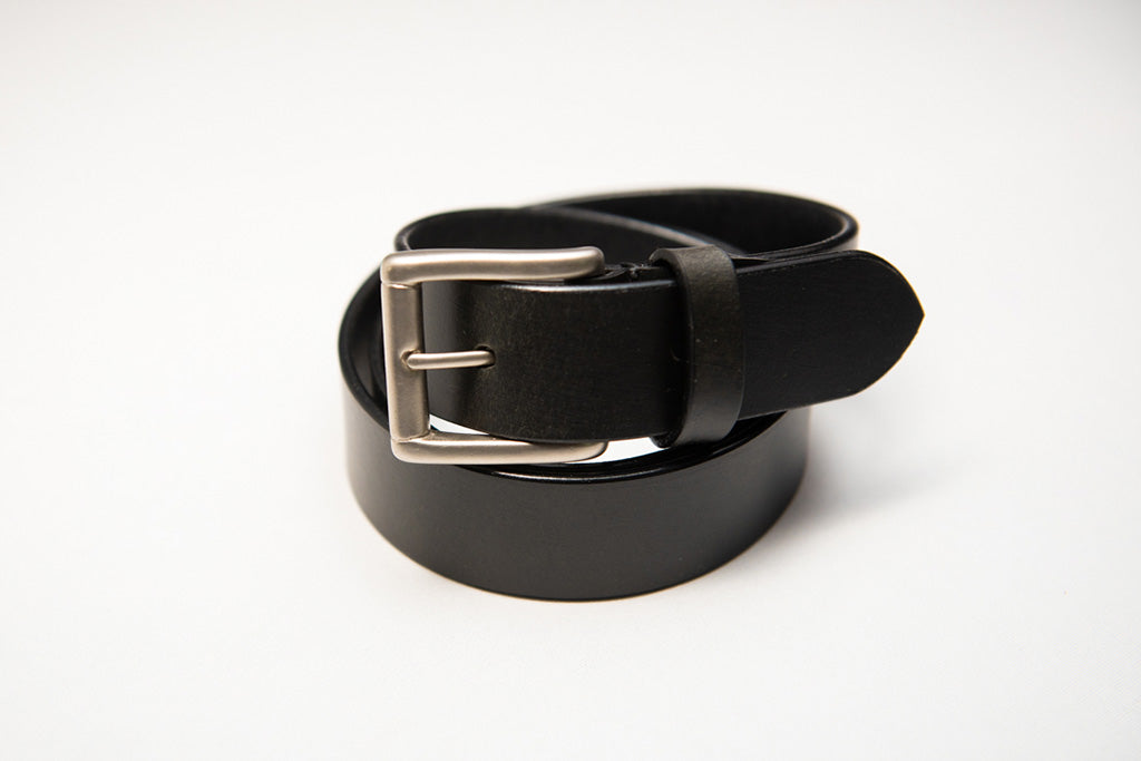 Men's Black Plain Pure Leather Belt