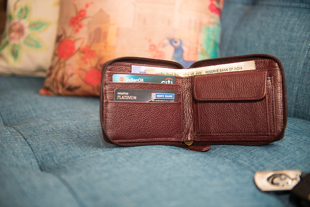 Maroon zipper wallet open view