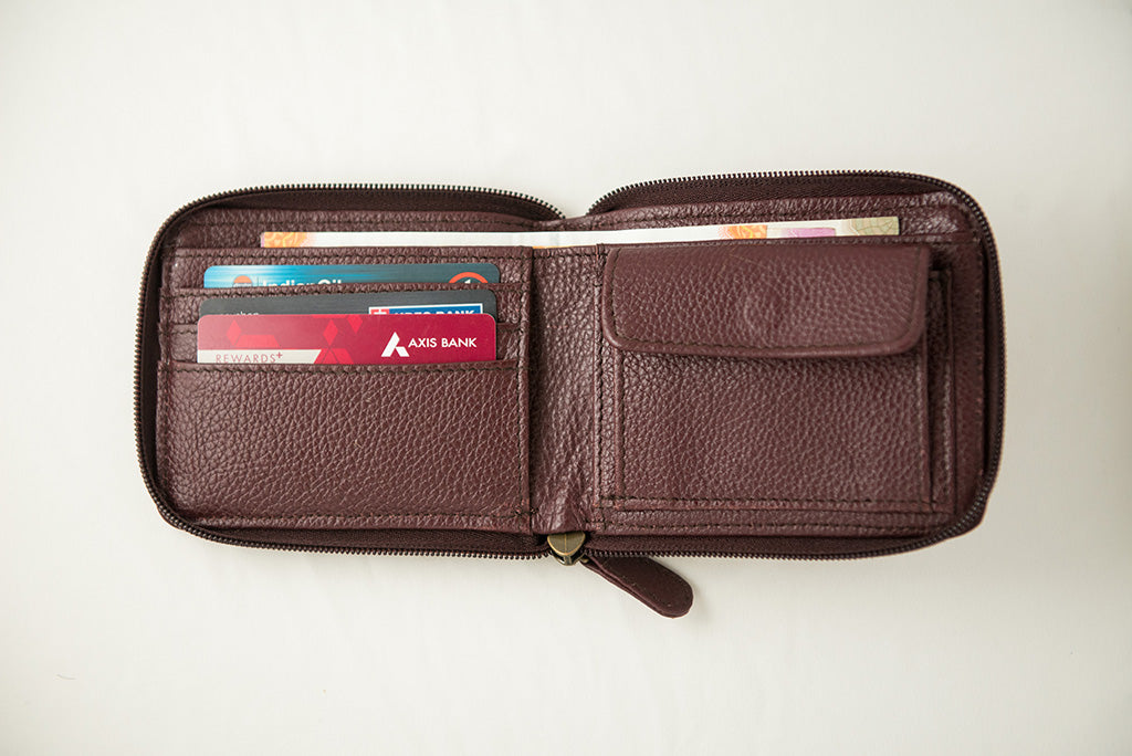 21 Degree maroon zipper wallet