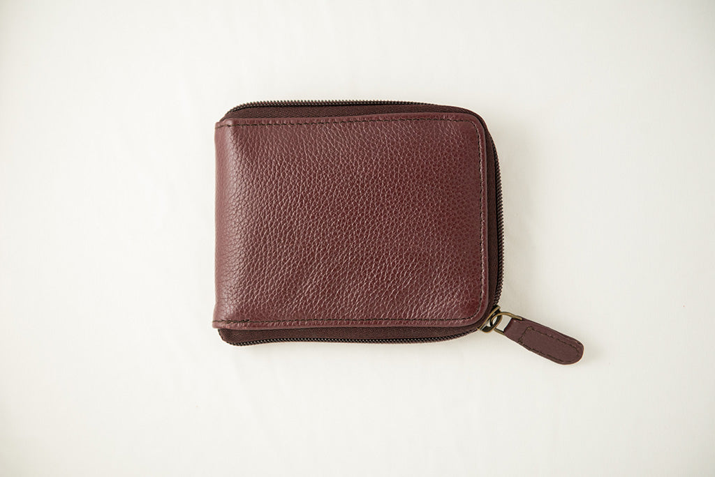 Maroon zipper wallet closed