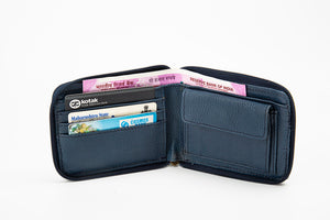 Blue women's zipper wallet