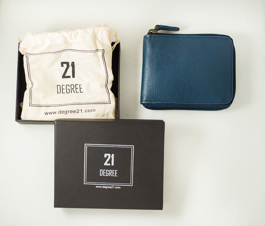 21 Degree packaging blue zipper