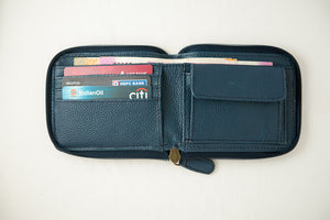 Blue zipper wallet open