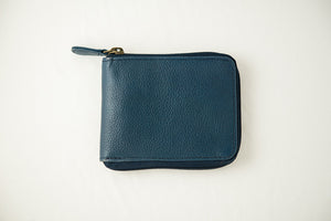 Blue zipper wallet closed
