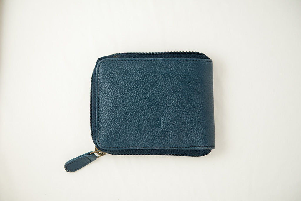 21 Degree logo blue zipper wallet