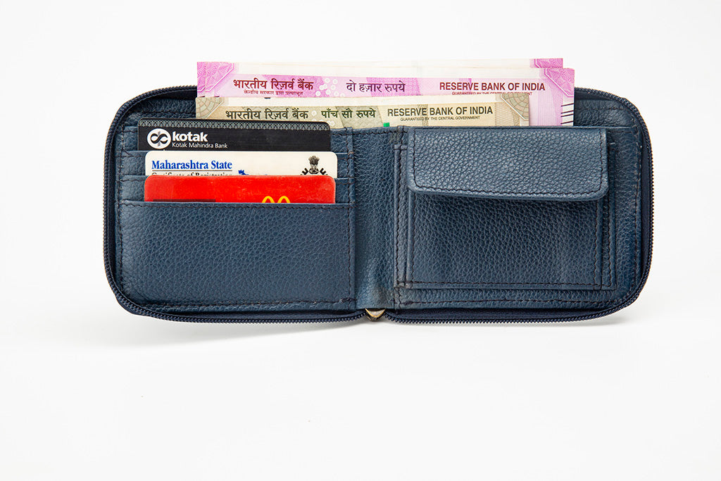 Live image blue zipper wallet