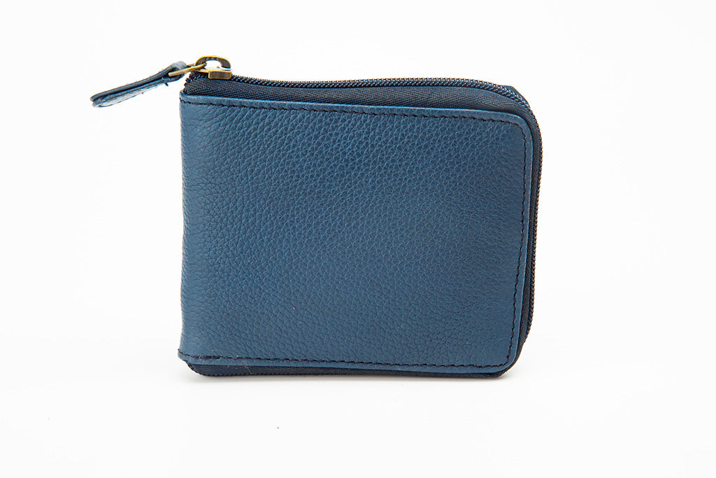 Blue zipper wallet closed 21 Degree
