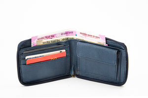 Zipper wallet open with cards, notes