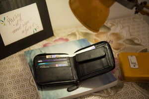 Black zipper wallet open