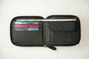 Black zipper wallet women's