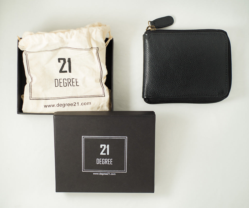 Packed 21 degree black zipper wallet