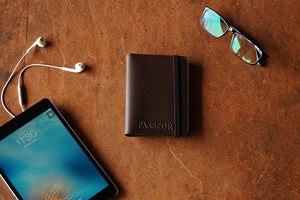 Brown pure leather passport cover