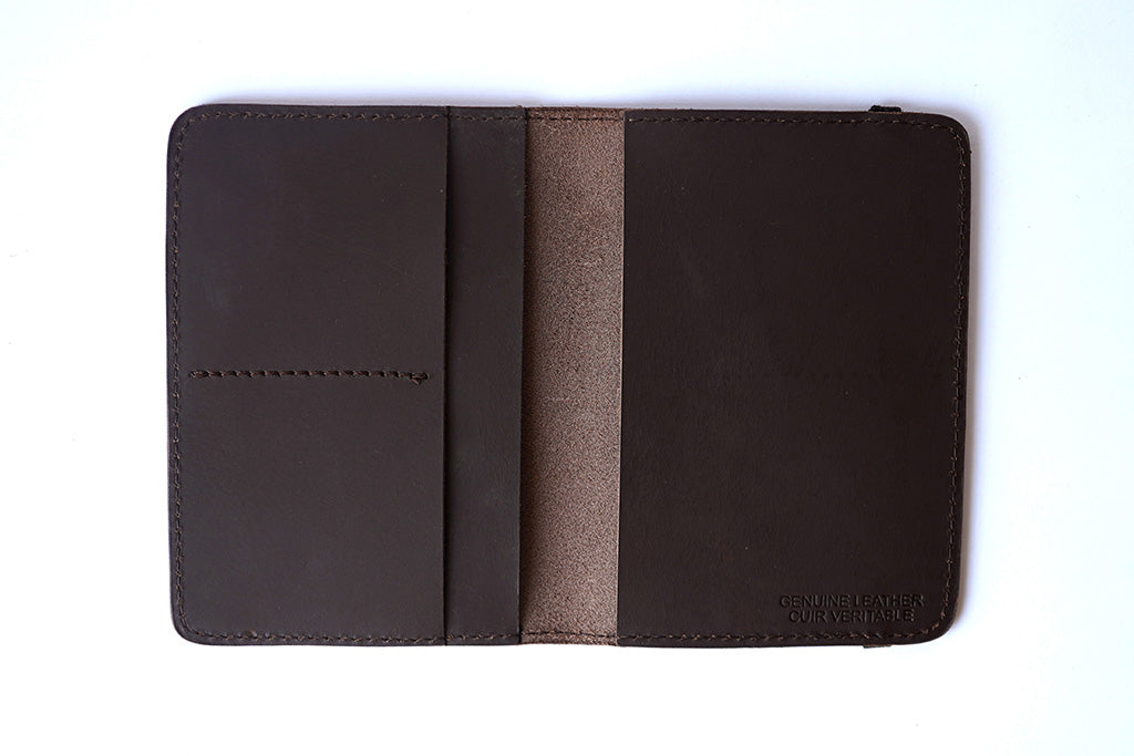 Brown passport cover, front open