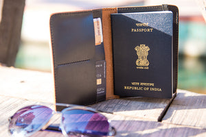 Black pure leather passport cover