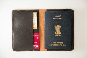 Black leather passport cover, front utility view