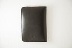 Load image into Gallery viewer, Black passport holder for men, back view