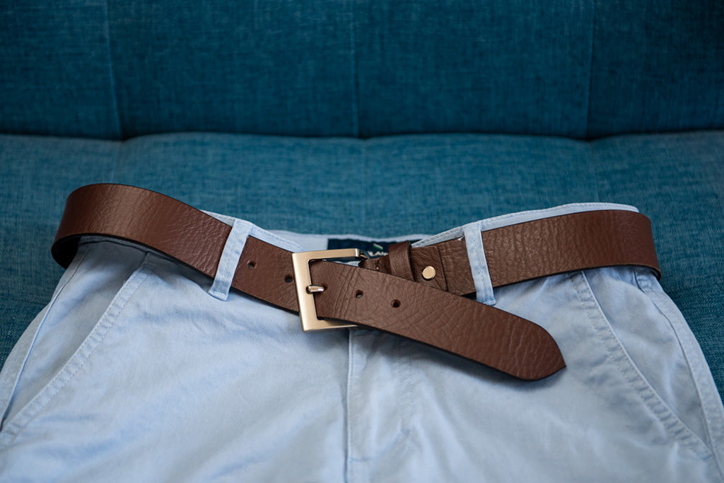 Men's Plain Formal (Thick) Pure Leather Brown Belt - 21 Degree Branded