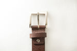 Load image into Gallery viewer, Men's Plain Formal Pure Leather Brown Belt with Brushed Nickle Buckle
