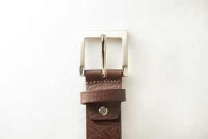 Men's Plain Formal Pure Leather Brown Belt with Brushed Nickle Buckle