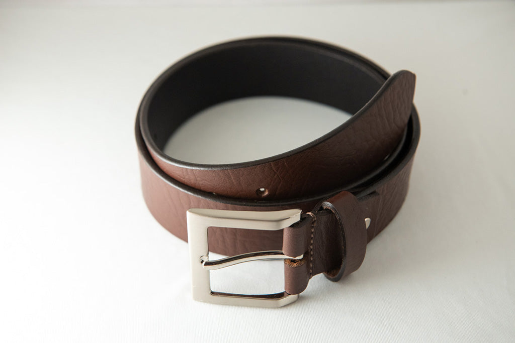 Men's Plain Formal Office Pure Leather Brown Belt