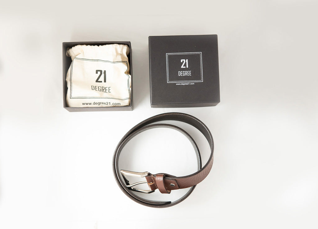 Men's Plain Formal Pure Leather Brown Belt with Packaging
