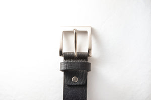 Men's Plain Formal Pure Leather Black Belt with Brushed Nickle Buckle