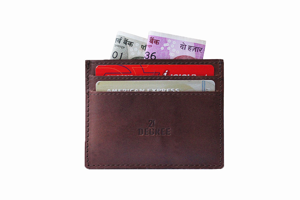White background photo of genuine leather 5 pocket card case with cash and cards