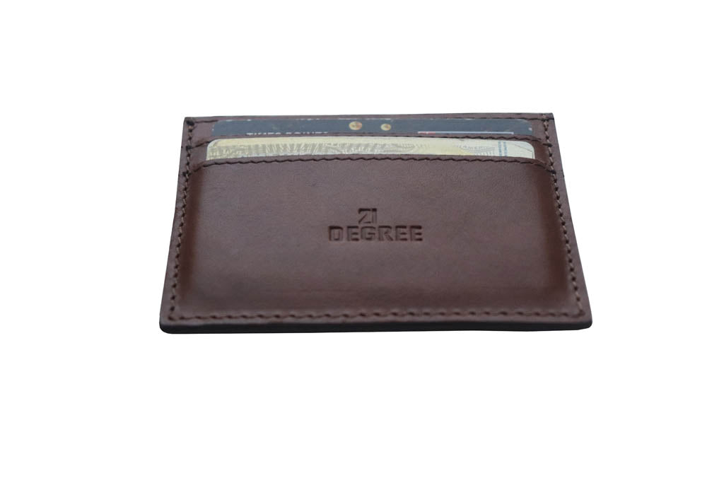 Leather card holder with credit/ debit cards