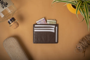 Brown card case for men and women