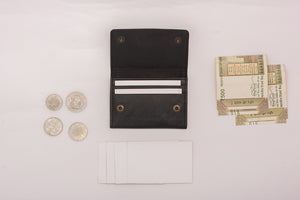 Black mini wallet with cards and money slots