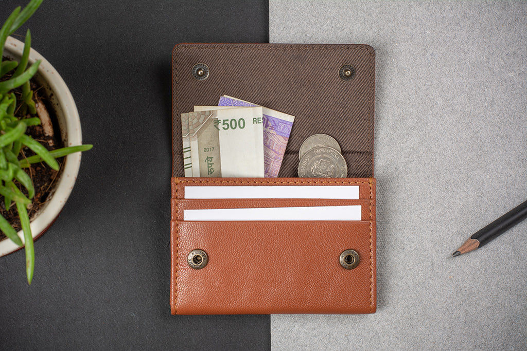 Tan business card holder for men and women