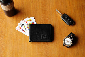 Pure leather black wallet for men