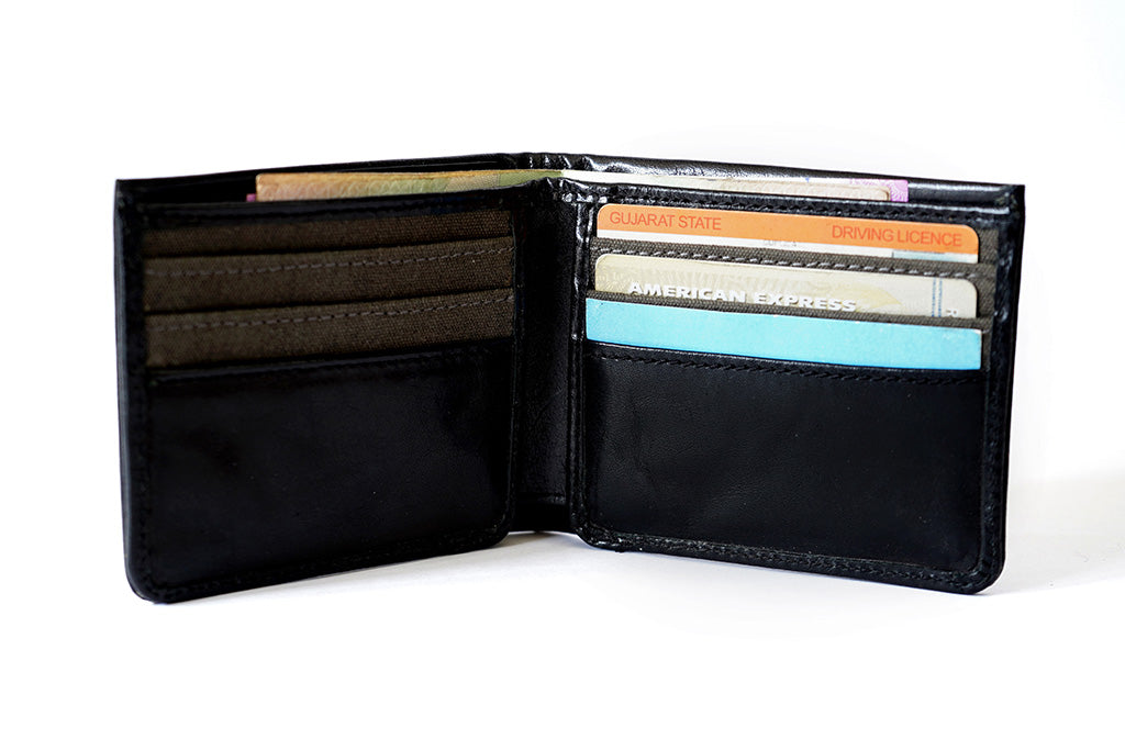 Genuine leather black wallet for men, front have 11 pockets for cards and 1 center pocket front view with utility